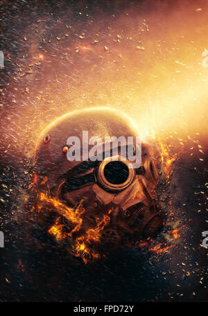 Horrific Soldier wearing Gas Mask and Helmet in an Apocalypse War scenario with fire flames and rain in the Background - Stock Photo
