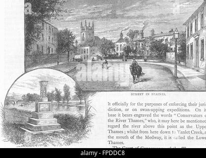 STAINES: Street in Staines; The city Boundary Stone. Surrey, old print 1888 - Stock Photo