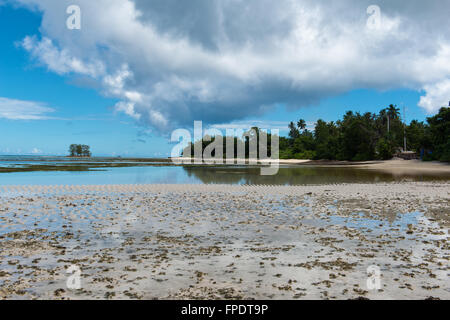 Stillness of Beautiful Anse Union Beach in La Digue, Seychelles. Captured in Panorama View. - Stock Photo