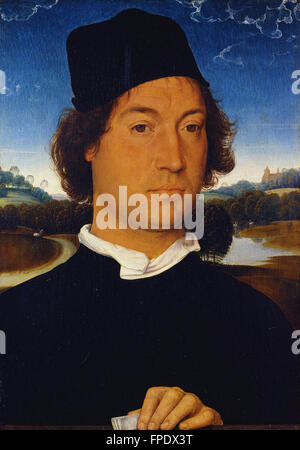 Hans Memling Memling - Portrait of an Unknown Man with a Letter - Stock Photo