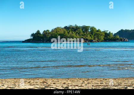 Anse Islet Beach at Port Launay with small island L'islette in the background, Mahe, Seychelles - Stock Photo