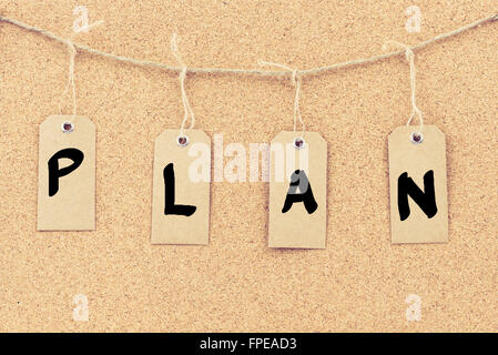 vintage grunge tags with letters on rope string word plan over cork board texture background