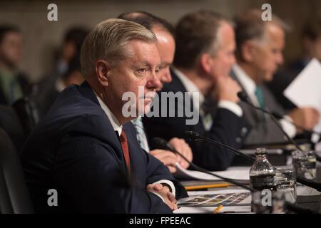 U.S Senator Lindsey Graham of South Carolina listens to Secretary of Defense Ashton Carter testify before the Senate - Stock Photo