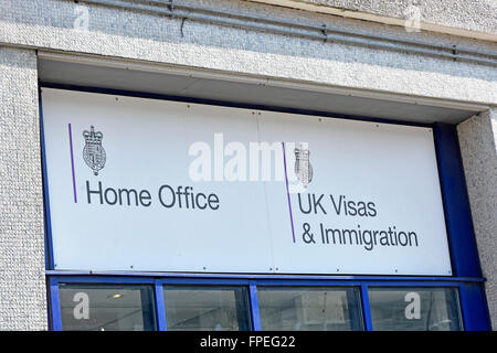 Croydon South London sign above public entrance to Lunar House UK government Home Office building used by UK Visas - Stock Photo
