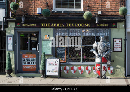 The Abbey Tea Rooms. Tewkesbury, Gloucestershire, England - Stock Photo