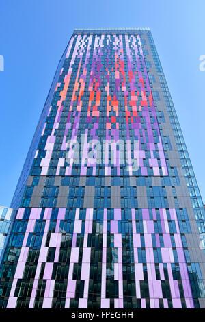 Colourful cladding panels high rise apartment flats by Berkeley Homes landmark skyscraper block Croydon South London - Stock Photo