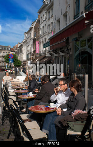 Several terraces near the chocolate shop Wittamer in Place du Grand Sablon, Brussels, Belgium. In this square into - Stock Photo