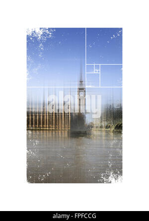Blurred View of Big Ben Clock Tower and Palace of Westminster Parliament Building from Thames River in London, England - Stock Photo