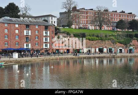Quayside restaurants and shops, Exeter, Devon, England, UK - Stock Photo