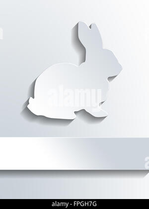 Silhouette Of White Rabbit Profile Shape Above Blank Label For Frohe
