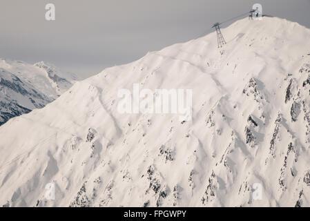 freeriding in Mayrhofen ski resort, austria - Stock Photo