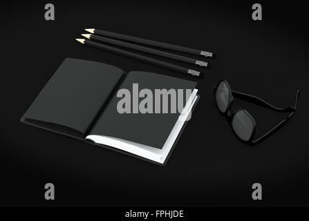 Stylish High Angle Still Life of Three Black Sharpened Pencils, Notebook with White Pages and Eyeglasses on Black - Stock Photo