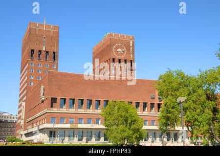 The fantastic city hall building of Oslo in Norway - Stock Photo