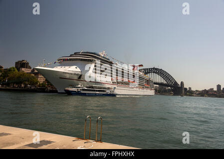 The cruise ship, Carnival Spirit docked in Circular Quay in Sydney, New South Wales in Australia. - Stock Photo
