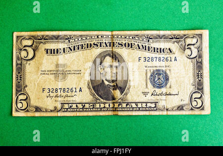 Silver certificate 5 five dollar bill detail close up macro Stock ...