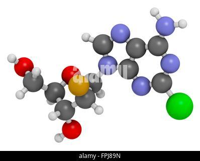 Clofarabine cancer drug molecule (purine nucleoside antimetabolite). Atoms are represented as spheres with c venti - Stock Photo