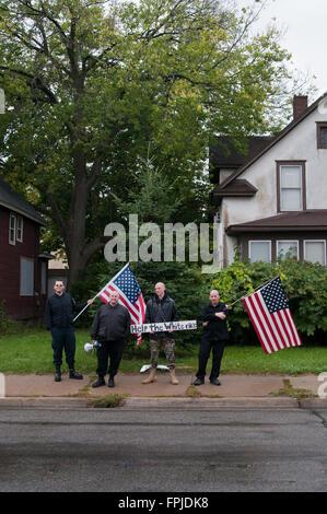Minneapolis, Minnesota. Neo-Nazi rally. The Neo-Nazi National Socialist Movement demonstrating in Minneapolis, Minnesota. - Stock Photo