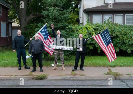 Minneapolis, Minnesota. Neo-Nazi rally. The Neo-Nazi National Socialist Movement demonstrating in Minneapolis, Mn. - Stock Photo
