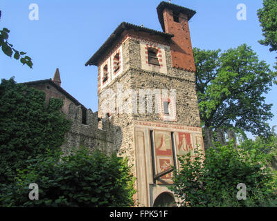 Turret of medieval castle in Valentino Park, Turin. - Stock Photo