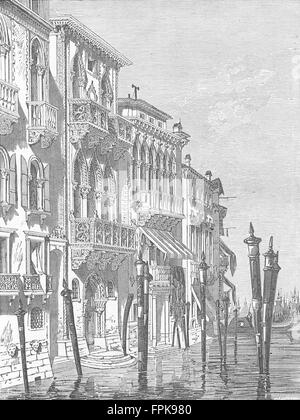 ITALY: Venetian houses, antique print 1880 - Stock Photo