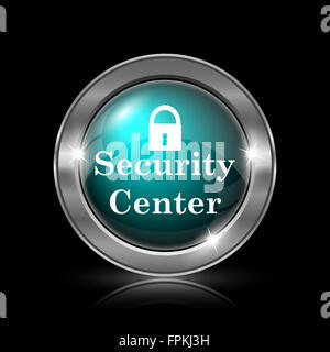Security center icon. Metallic internet button on black background. - Stock Photo