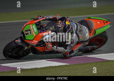Doha, Qatar. 18th March, 2016. Stefan Bradl of Germany and Aprilia Racing Team Gresini rounds the bend during  MotoGP - Stock Photo
