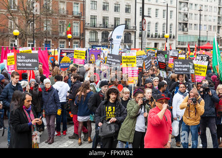 London, 19th March 2016.  Protesters begin to gather at the 'Stand up to Racism' demonstration as it begins in Portland - Stock Photo
