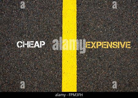Antonym concept of CHEAP versus EXPENSIVE written over
