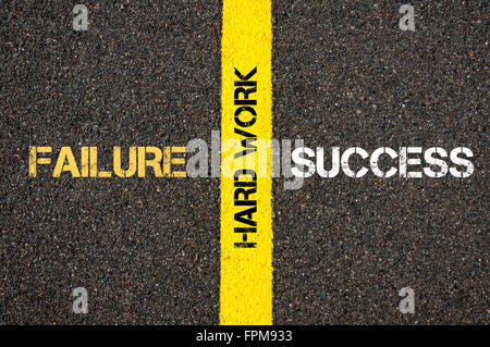 Antonym concept of SUCCESS versus FAILURE written over tarmac, road marking yellow paint separating line with message - Stock Photo