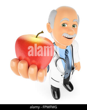 3d medical people. Doctor with a red apple. Healthy food concept. Isolated white background. - Stock Photo