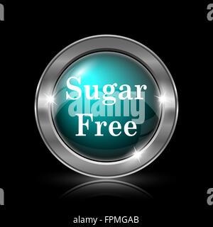 Sugar free icon. Metallic internet button on black background. - Stock Photo