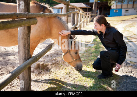 Man stroking calm horse through wooden fence during sightseeing countryside, black dressed long hair young person - Stock Photo