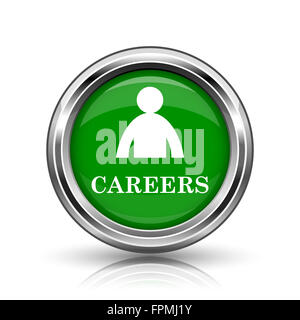 Careers icon. Metallic internet button on white background. - Stock Photo