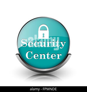 Security center icon. Metallic internet button on white background. - Stock Photo