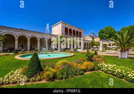 Germany, Bavaria, Lower Franconia, Franconian Saale valley, Bad Kissingen, spa area, garden with arcade and Conversationssaal