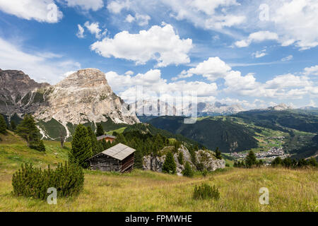 View from the Kolfuschger high route in the Gadertal, in the valley Corvara, on the left the mountain Sass Songher, - Stock Photo