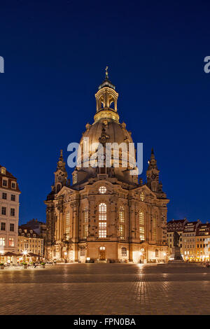 Frauenkirche (Church of Our Lady) in Dresden by night - Stock Photo