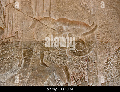Angkhor Wat, Cambodia - January 29 2016:  Bas relief showing an elephant and a soldier the army of 11th Century - Stock Photo