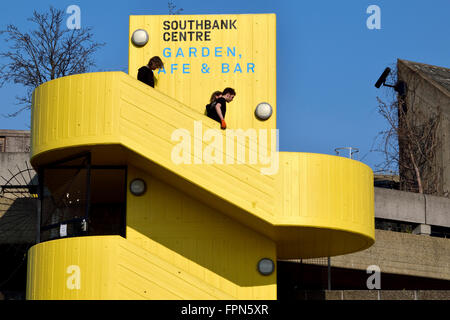 London, England, UK. Southbank Centre - yellow concrete steps up to the Garden, cafe and bar - Stock Photo