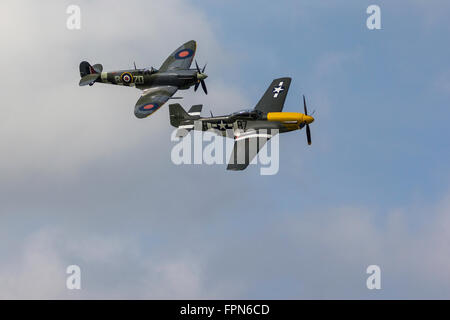 Spitfire and Mustang at Goodwood Revival - Stock Photo