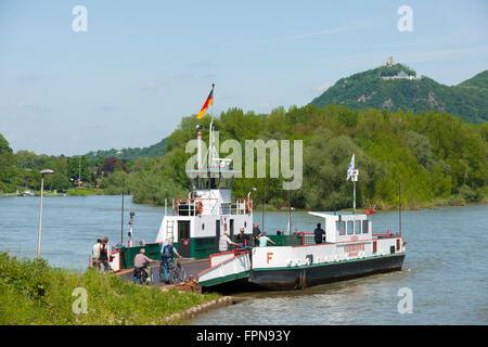 Deutschland, Rheinland-Pfalz, Rolandseck, Blick über die Rheininsel Nonnenwerth (früher auch Rolandswerth) zum Drachenfels - Stock Photo