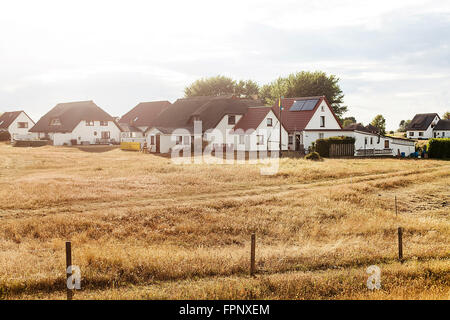 Houses in Neuendorf, Hiddensee Island - Stock Photo