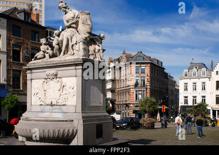 Fountain by Jacques Berge in 1751 at the Place du Grand Sablon, Brussels, Belgium. At number 40 is the Musée des - Stock Photo