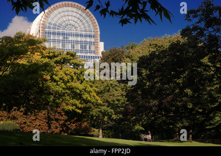 European Parliament building in Brussels seen from Leopold Parc. European Quarter, Brussels, Belgium. The European - Stock Photo