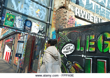 Street scene of graffiti and urban art, in Stokes Croft, Bristol, UK. - Stock Photo