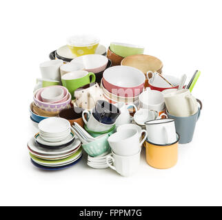 a lot of different dishes on white background - Stock Photo