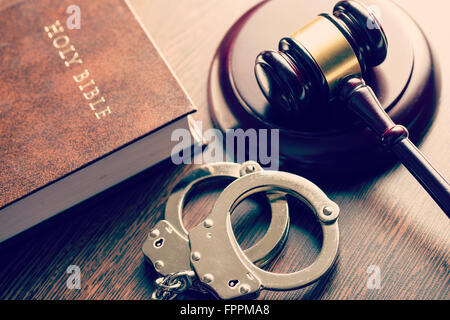 the judge gavel and handcuffs - Stock Photo