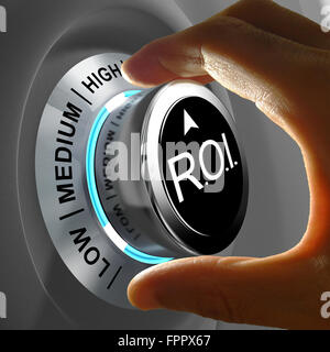 This illustration concept shows the level of ROI. Return of investment is the gains compared to the cost. - Stock Photo