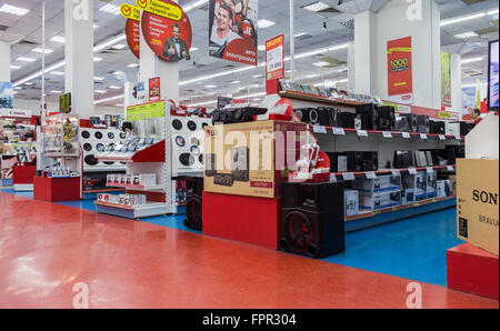 Interior of the electronics shop M-Video. Is the largest Russian consumer electronic retail chain - Stock Photo