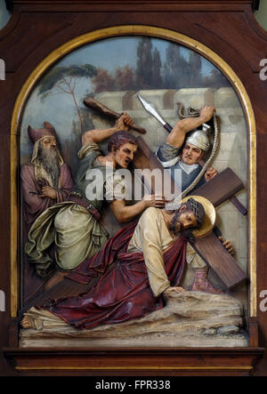 ZAGREB, CROATIA - SEPTEMBER 14: 7th Stations of the Cross, Jesus falls the second time, Basilica of the Sacred Heart - Stock Photo